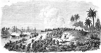 Battle of Curuzú - Image: GUERRE DU PARAGUAY. Prise de la batterie de Curuzù (3 septembre) par le 2º corps d'armée brésilien, sous les ordres du lientenant général vicomte de Porto Alegre. D'après un croquis de M. Paranhos