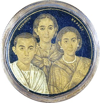 Family - Detail of a gold glass medallion with a portrait of a family, from Alexandria (Roman Egypt), 3rd–4th century (Brescia, Museo di Santa Giulia)