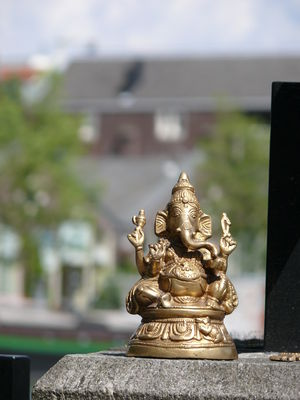 Hinduism in the Netherlands - A small statue of Ganesha in central Amsterdam.
