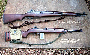 M1 carbine - The M1 Rifle and M1 Carbine share only a buttplate screw and use different sized .30 caliber ammunition