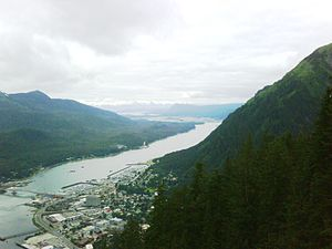 Gastineau Channel from top of Juneau tramway, ...