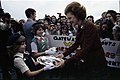Gateway Girl Scout Troop Members Presenting a Silver Plate and Bowl to First Lady Betty Ford at Jacksonville International Airport in Jacksonville, Florida - NARA - 45644273.jpg