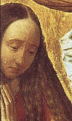 Man of Sorrows (Geertgen tot Sint Jans) - Detail showing the weeping Mary Magdalene