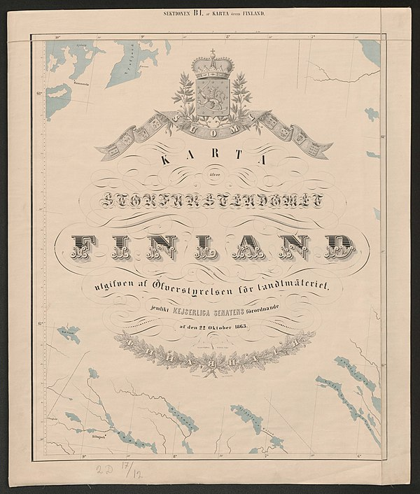 600px general map of the grand duchy of finland 1863 sheet b1