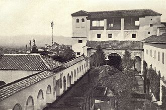 Generalife - The Patio de la Acequia before the installation of modern fountains