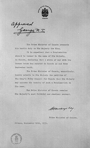 Military history of Canada during World War II - Prime Minister Mackenzie King's request to King George VI for approval that war be declared against Germany in His Majesty's name, 10 September 1939.