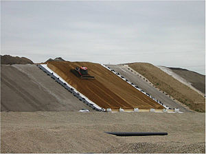 Geosynthetics - Image: Geogrid on a slope