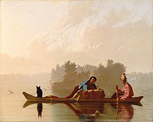 Painting of two figures and a cat on a boat in a placid body of water