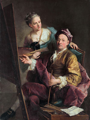 Georg Desmarées - Self portrait with his daughter, ca. 1750