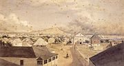 George Henry Burgess - 'Queen Street, Honolulu', watercolor over graphite painting, 1856, Honolulu Academy of Arts