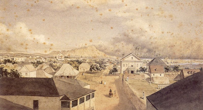 George Henry Burgess - %27Queen Street, Honolulu%27, watercolor over graphite painting, 1856, Honolulu Academy of Arts.jpg