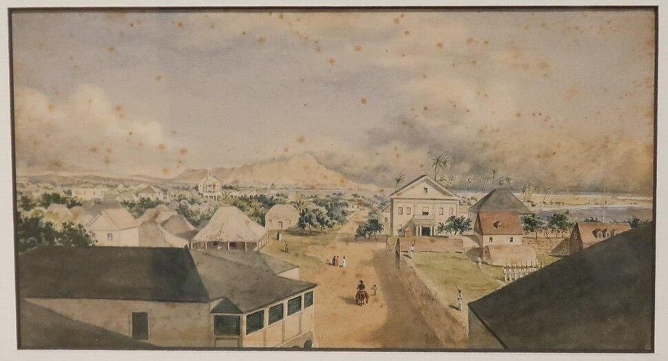 George Henry Burgess - 'Queen Street, Honolulu', watercolor over graphite painting, 1856, Honolulu Academy of Arts