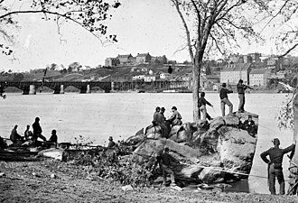Georgetown University - Union soldiers on the Potomac River across from Georgetown University in 1861