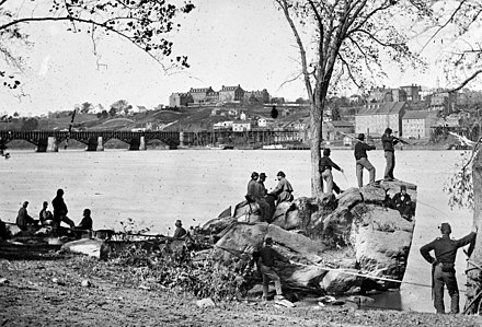 Union soldiers on the Potomac River across from Georgetown University in 1861 Georgetown 1861.jpg