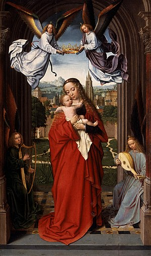 Virgin and Child with Four Angels - Gerard David, Virgin and Child with Four Angels, c. 1510–15. 63.2 cm × 39.1 cm, Metropolitan Museum of Art.