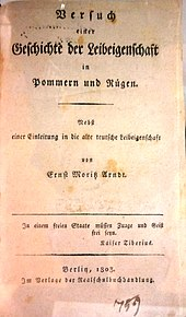 Titelblatt der Geschichte der Leibeigenschaft (Quelle: Wikimedia)