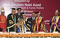 Ghulam Nabi Azad presenting a memento to the President, Shri Pranab Mukherjee, at the Foundation Day celebrations of the RML Hospital, in New Delhi. The Minister of State for Health & Family Welfare.jpg