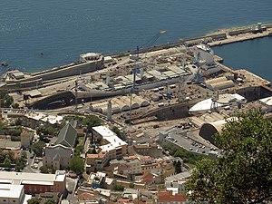 Gibdock - Dry docks at Gibdock as seen from the Rock of Gibraltar.