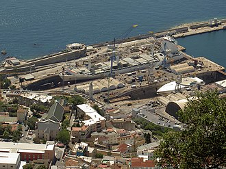 Gibdock - Dry docks at Gibdock as seen from the Rock of Gibraltar.