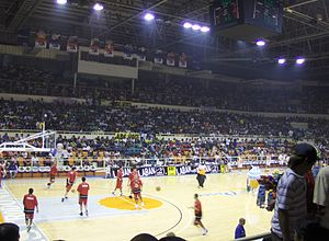 Barangay Ginebra San Miguel - Ginebra prior to their game against San Miguel at the Cuneta Astrodome.