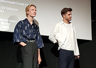 Girl (2018 film) - Victor Polster and Lukas Dhont at a Paris premiere of Girl.