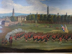 Black Watch - Detail from a painting showing Black Watch recruits being reviewed on Glasgow Green, c.1758.