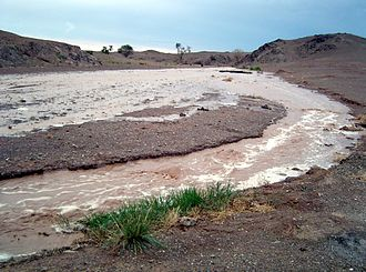 Flash flood - A flash flood after a thunderstorm in the Gobi, Mongolia