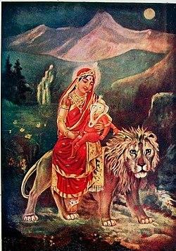 Goddess Parvati and her son Ganesha.jpg