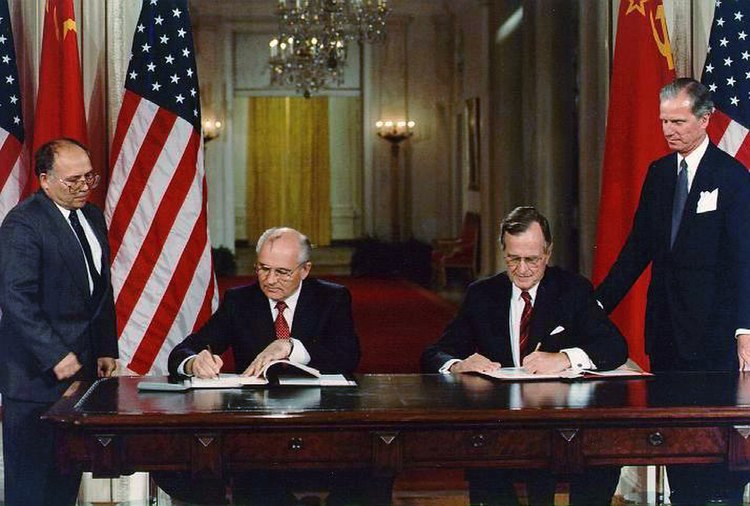 President George H. W. Bush and President Mikhail Gorbachev sign United States/Soviet Union agreements to end chemical weapon production and begin destroying their respective stocks in the East Room of the White House, Washington, DC on the 1st of June 1990
