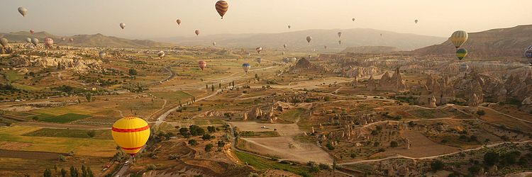 Cappadocia is a region created by the erosion of soft volcanic stone by the wind and rain for centuries.[318] The area is a popular tourist destination, having many sites with unique geological, historic, and cultural features.