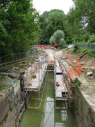 Waterway restoration - Gough's Orchard lock on the Thames & Severn Canal undergoing restoration by Waterway Recovery Group