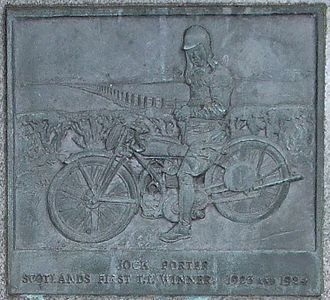 Jock Porter - Plaque on Porter's gravestone, showing him astride a New Gerrard motorcycle