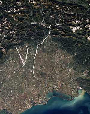 Tagliamento - Natural-colour satellite image of north-eastern Italy showing parts of the Cellina, Meduna, and Tagliamento rivers.