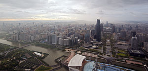 Urbanization - Guangzhou, a city of 12.7 million people, is one of the 8 adjacent metropolises located in the largest single agglomeration on earth, ringing the Pearl River Delta of China.