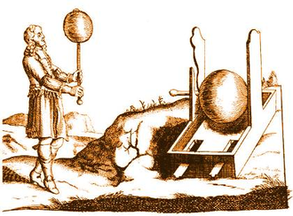 History of electrochemistry - German physicist Otto von Guericke beside his electrical generator while conducting experiment.