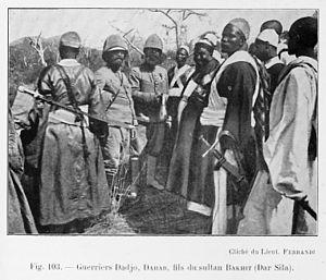 """Dar Sila - """"Dadjo Warrior Dahab, son of sultan Bakhit (Dar Sila)"""". From L'Afrique Équatoriale Française: le pays, les habitants, la colonisation, les pouvoirs publics. Préf. de M. Merlin.(published 1918)"""
