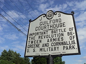 Guilford County, North Carolina - State historical marker for Guilford Courthouse