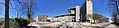 Gulating Lagmannsrett courthouse, Gulatings plass, Kaigaten, Bybanen line, Bergen rådhus city hall, Den gamle telegrafbygningen, Michelsen monument, Festplassen, Ulriken, etc. in Bergen, Norway. Distorted panorama 2018-03-18 A.jpg