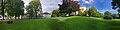 Gunnarsbø (villa 1878) Gunnarsbøparken Svend Foyns arbeiderboliger Storgaten parked cars Tønsberg Norway 2017-09-20 cropped distorted panorama B.jpg