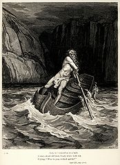 "An engraving of Charon, in Greek mythology the ferryman of Hades who carried souls of the newly deceased across the River Styx that divided the world of the living from the world of the dead. This illustration is from French engraver Gustave Doré's 1857 set of illustrations for Dante Alighieri's Divine Comedy, an Italian epic poem depicting an allegorical vision of the Christian afterlife. Here, Charon is shown coming to ferry souls across the river Acheron to Hell. The caption is from Henry Francis Cary's translation, from which this particular copy is taken:And, lo! toward us in a bark  Comes on an old man, hoary white with eld,  Crying ""Woe to you, wicked spirits!"""