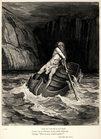 The Divine Comedy is an epic poem by Dante Alighieri. Engraving by Gustave Dore Gustave Dore - Dante Alighieri - Inferno - Plate 9 (Canto III - Charon).jpg