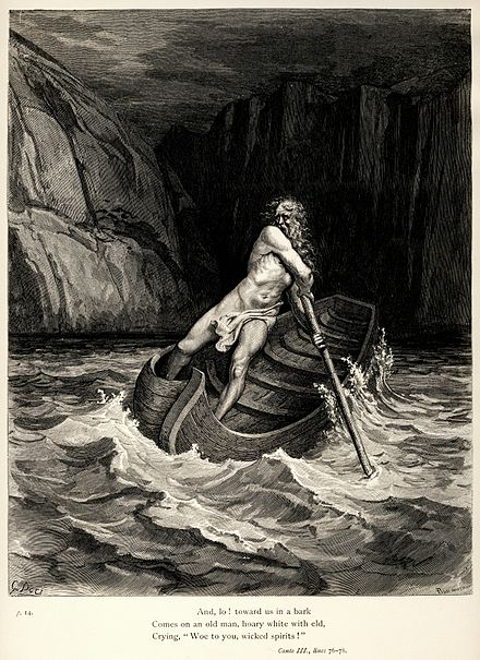 Gustave Dore's engravings illustrated the Divine Comedy (1861-1868); here Charon comes to ferry souls across the river Acheron to Hell. Gustave Dore - Dante Alighieri - Inferno - Plate 9 (Canto III - Charon).jpg
