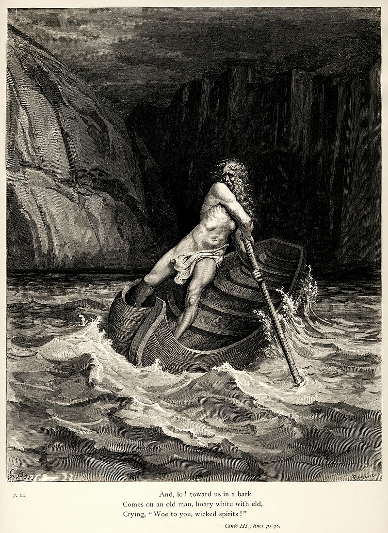 Charon comes to ferry souls across the river Acheron to Hell.