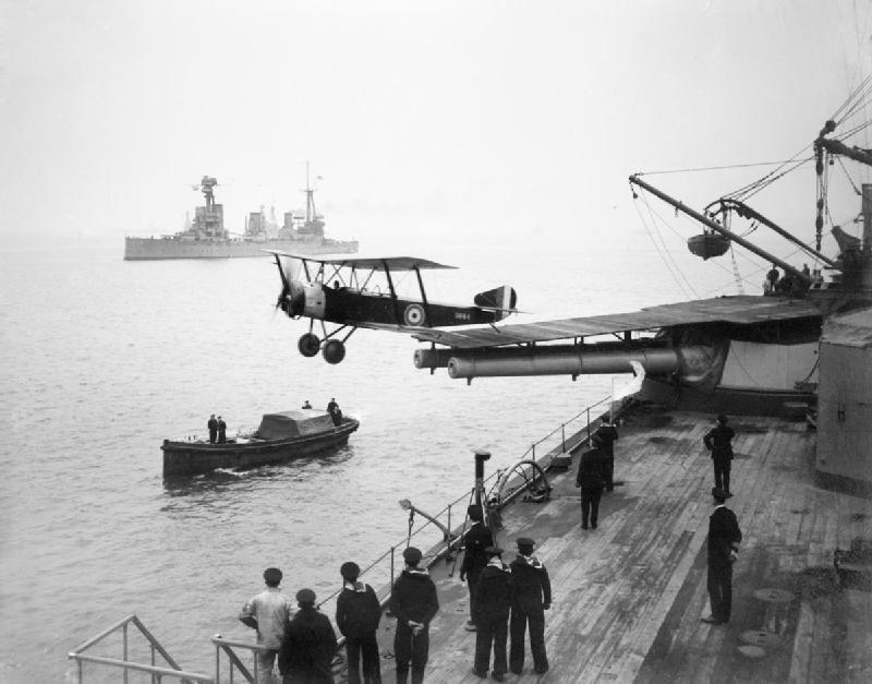 HMAS Australia launching aircraft 1918