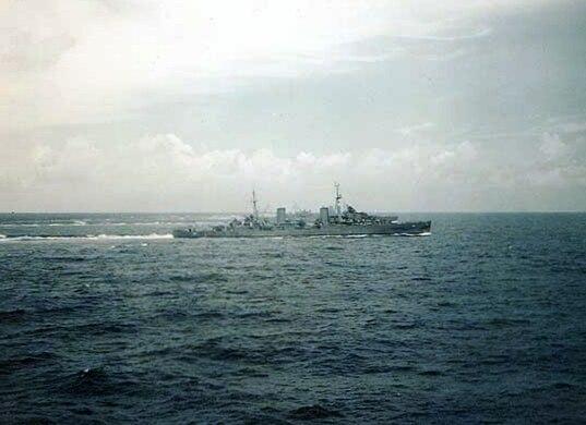 HMAS Hobart off Subic Bay 1945
