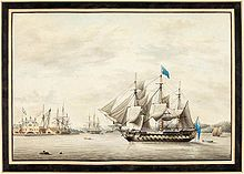 Print of HMS Asia (64) at Halifax in 1797