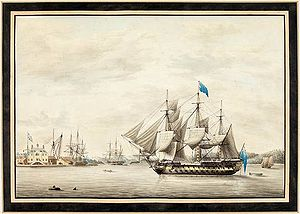 Thomas Slade - HMS Asia in Halifax Harbour, 1795. Watercolour by George Gustavus Lennock, a lieutenant aboard Asia.