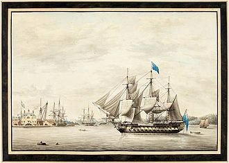 Royal Naval Dockyard, Halifax - Image: HMS Asia in Halifax Harbour, 1797