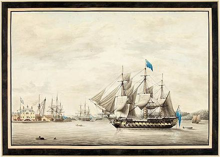 HMS Asia in Halifax Harbour, 1795. Watercolour by George Gustavus Lennock, a lieutenant aboard Asia. HMS Asia in Halifax Harbour, 1797.jpg