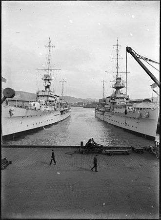 New Zealand Division of the Royal Navy - HMS ''Diomede'' and HMS Dunedin'' berthed in Wellington, ca 1928